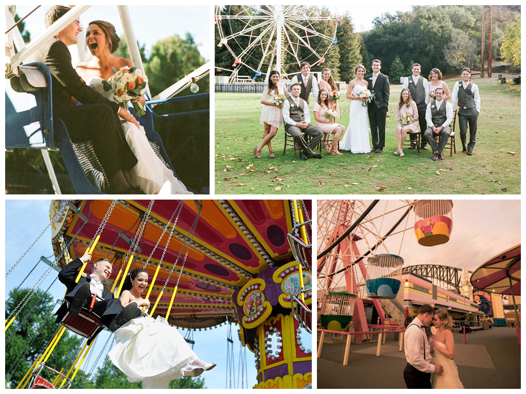 Яркие свадебные снимки в парке аттракционов Москва