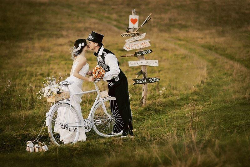 идеи для свадебной съемки: велосипеды
