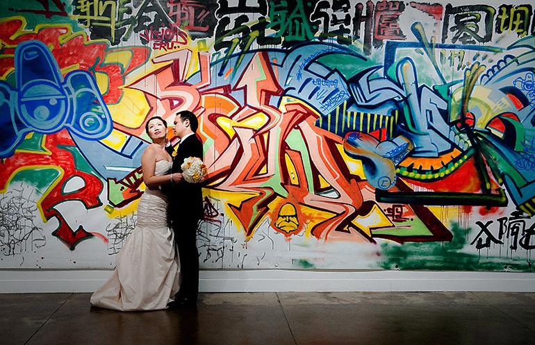 идеи для свадебной съемки: граффити