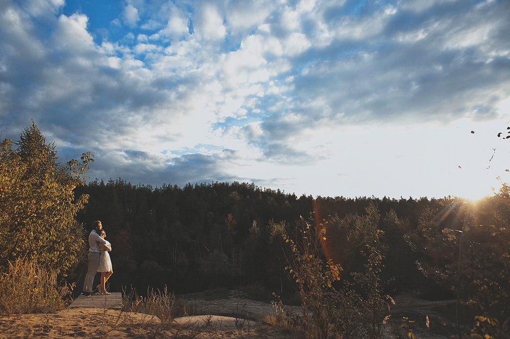 идеи для свадебной съемки: фотосессия в лесу