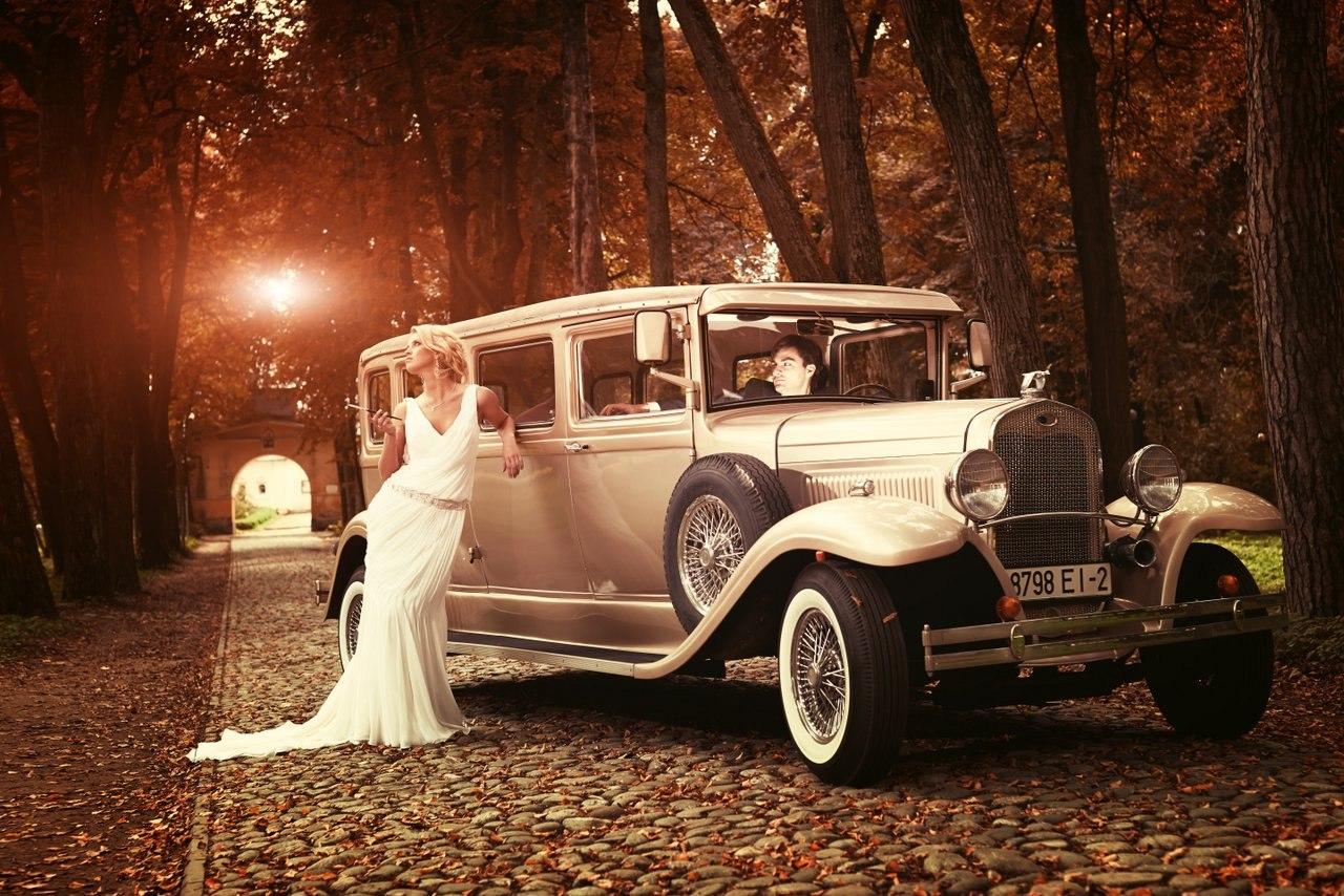 идеи для свадебной съемки: ретро авто