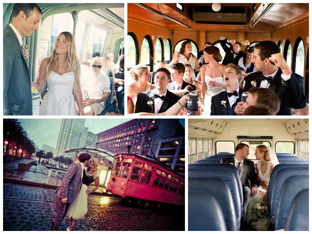 Свадебный кортеж ассоциируется с дорогими, украшенными автомобилями и звуками клаксона. Но если отступить от традиций и сделать несколько снимков в трамвае или троллейбусе? Будет интересно!