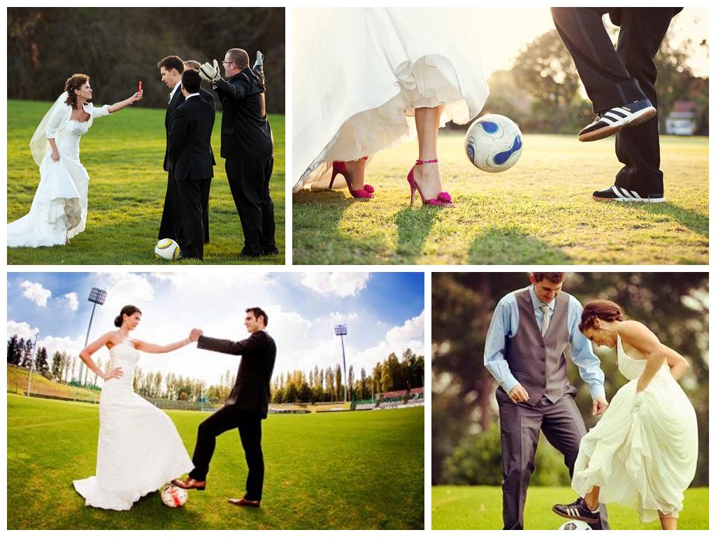 Свадебные снимки на футбольном поле Москва